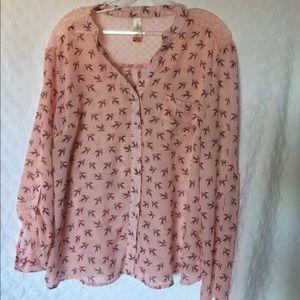 Swallow bird print blouse